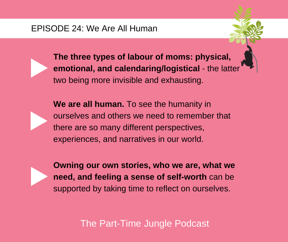 Sara Blanchard, co-host of The Dear White Woman Podcast and author of Flex Mom, talks about the labour of moms, the importance of remembering that we are all human, and the importance of taking time to reflect on ourselves.