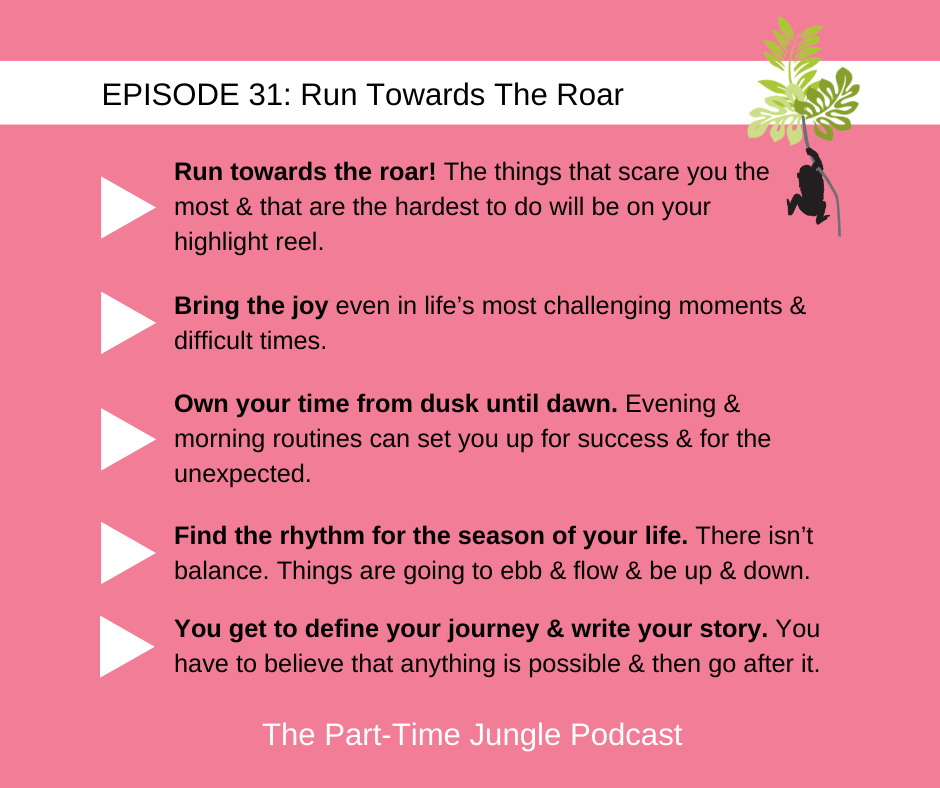 Jessica Janzen Olstad talks about the lessons learned from her son Lewison including run towards the roar and bring the joy. She shares the importance of owning your time from dusk until dawn, finding a rhythm for the season of your life, and defining your journey and writing your story.
