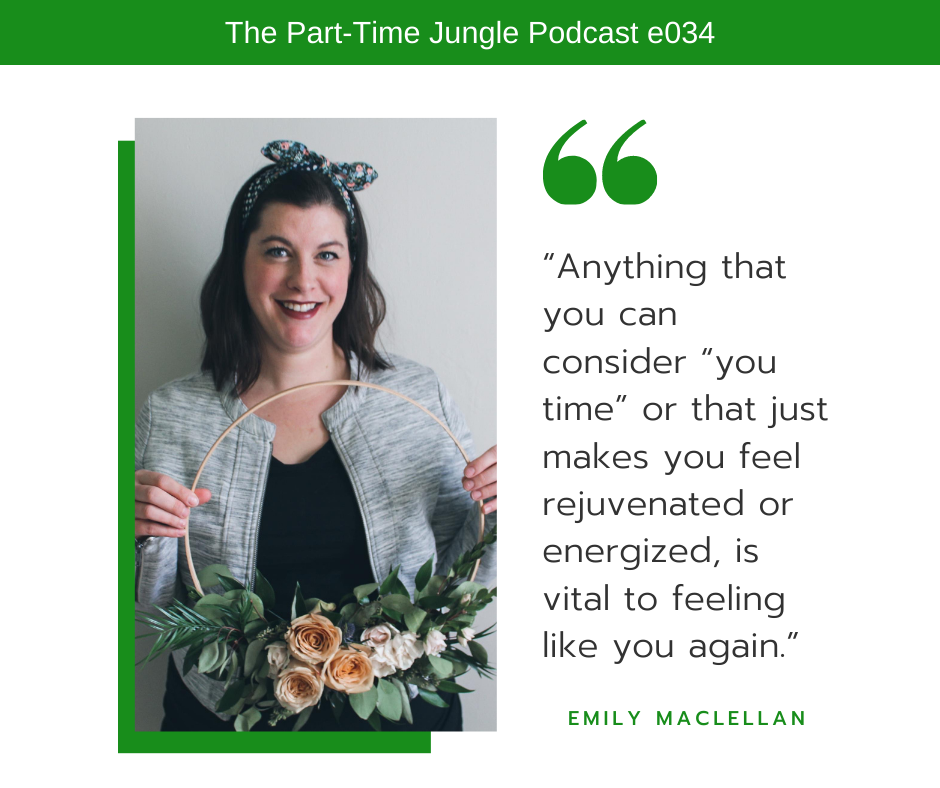 """Emily MacLellan, of Evyrose, talks about the importance of """"me time"""" for moms."""