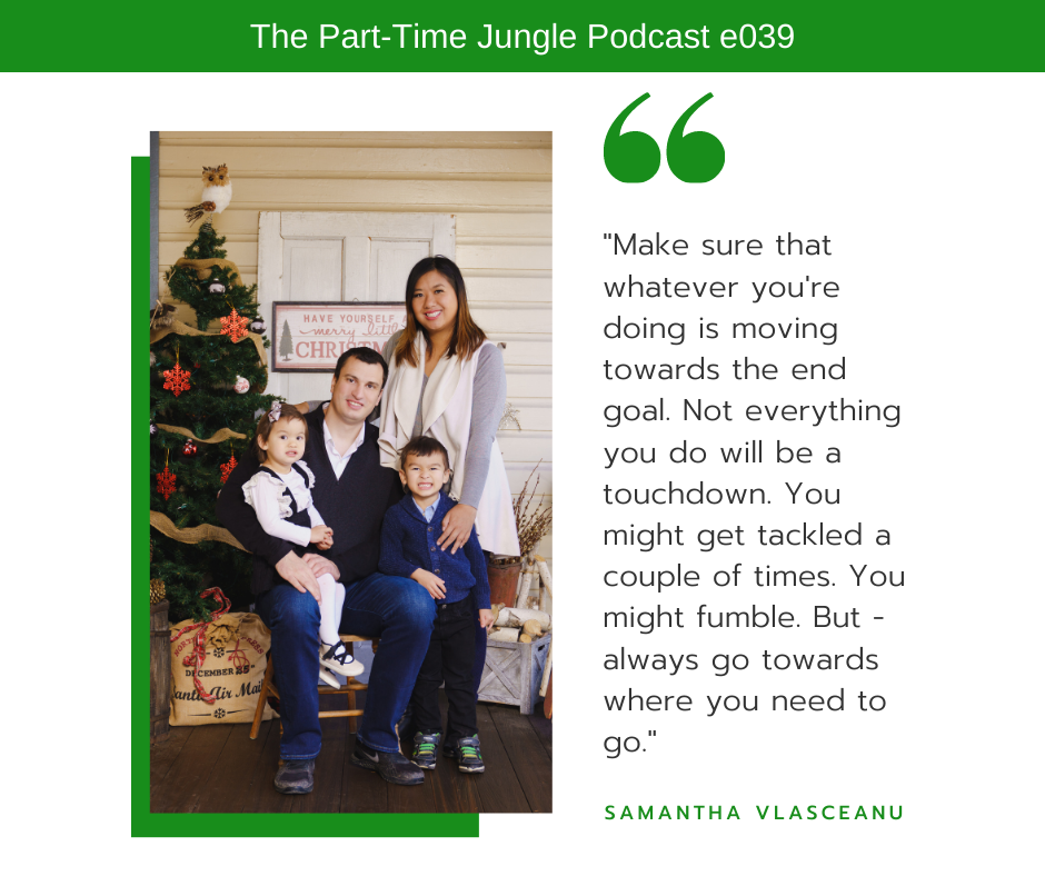 Samanta Vlasceanu, The TikTok Coach, describes goal setting using a football analogy where you think of your goals as the end zone and the journey as the football game.